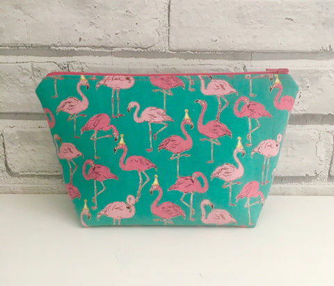 Tropical Flamingo Makeup Bag, Cosmetic Zip Pouch - The Curious Needle