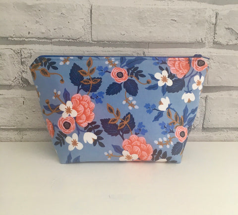 Blue Floral Make Up Bag, Floral Cosmetic Pouch