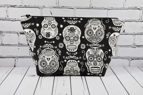 Glow in the Dark Sugar Skull Makeup Bag, Rockabilly Large Zip Pouch - The Curious Needle