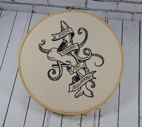 Nautical Embroidered Hoop Art, Whale and Giant Squid Art, Here There Be Monsters.