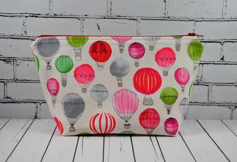 Hot Air Balloon Makeup Bag, Large Zip Pouch - The Curious Needle