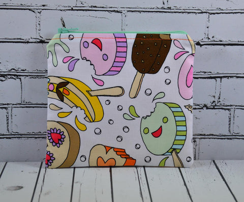 Kawaii Ice Cream Coin Pouch, Cute Small Zippered Pouch