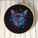 Cat Galaxy Embroidered Wall Art