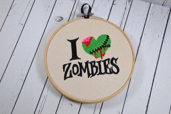 I Love Zombies Embroidered Hoop Art,