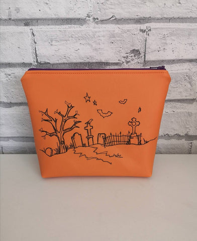 Halloween Makeup Bag, Spooky Graveyard Zip Pouch. Orange Vinyl Zipper Pouch