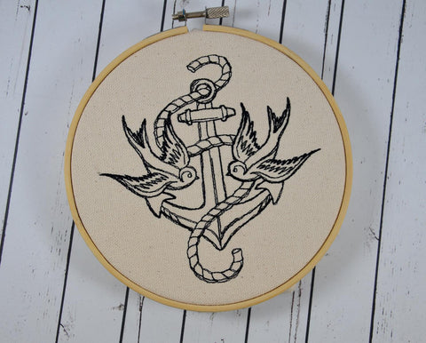 Retro Swallows and Anchor Wall Art, Embroidered Hoop Art, Retro Tattoo