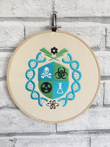 Science Crest Embroidered Hoop Wall Art, Scientist Gift