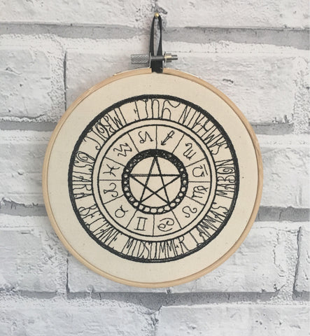 Pagan and Zodiac Wall Art, Embroidered Hoop Art