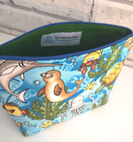 Sea Animals Makeup Bag, Turtle, Dolphin, Octopus Cosmetic Pouch
