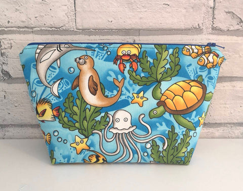 Sea Animals Makeup Bag, Turtle, Dolphin, Octopus Cosmetic Pouch - The Curious Needle