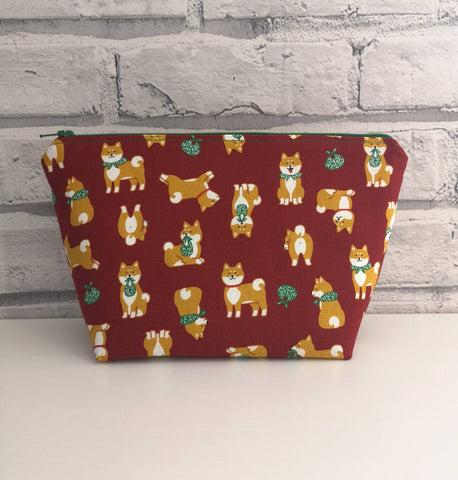 Shiba Inu Makeup Bag, Dog Zip Pouch - The Curious Needle