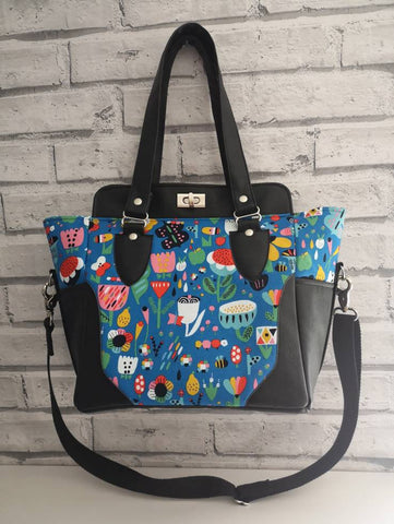 Colourful Floral Bee Handbag, Top Handle Bag Purse