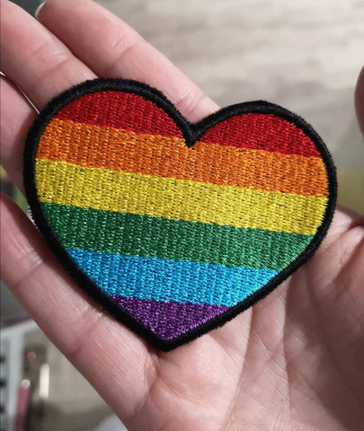 Rainbow Heart Patch, Gay Pride Patch, LBGTQ Patch, Gay Rights Patch, Ally Patch - The Curious Needle