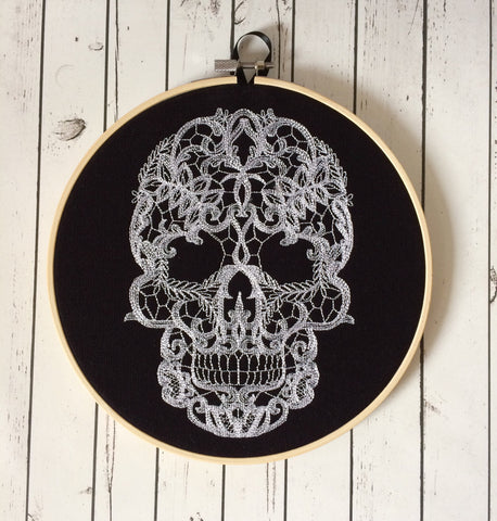 Lace Skull Embroidered Hoop Art, Halloween Wall Decor - The Curious Needle