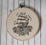 Nautical Wall Hoop Art, Ship Embroidered Art - The Curious Needle