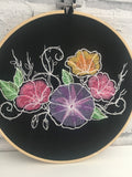 Embroidered Flowers Hoop Art. Floral Wall Hanging