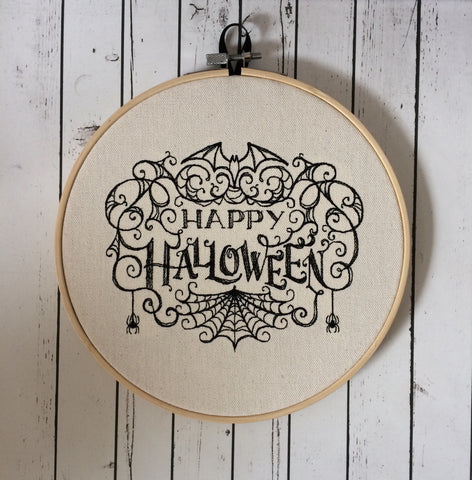 Happy Halloween Wall Art, Embroidered Hoop Art - The Curious Needle