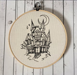 Haunted House Embroidered Hoop Wall Art, Halloween Decor - The Curious Needle