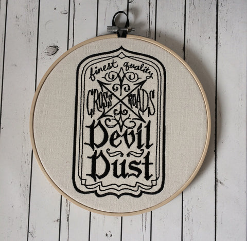 Apothecary Label Hoop Art, Halloween Embroidered Art, Gothic Wall Art