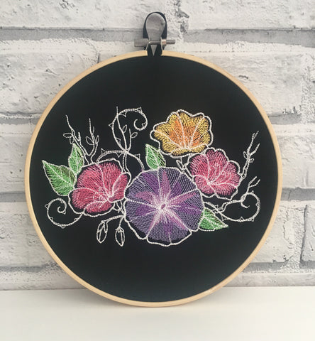 Embroidered Flowers Hoop Art. - The Curious Needle