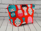 Kokeshi Doll Makeup Bag, Large Zip Pouch