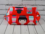 Kokeshi Japanese Doll Makeup Bag, Large Zip Pouch - The Curious Needle