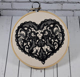 Lace Heart Hoop Art - Machine Embroidered Art, Anniversary Gift