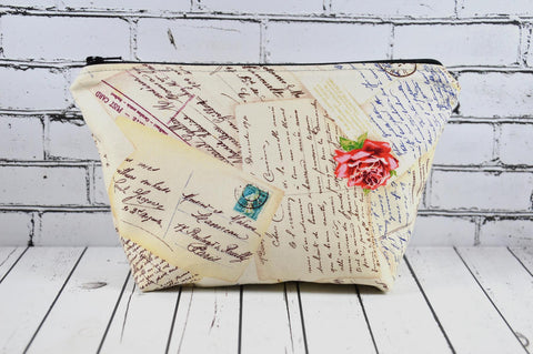 French Postcards Script Cosmetic Bag, Romantic Makeup Bag, Toiletry Bag, France Zip Pouch.