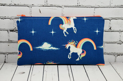 Navy Unicorn Pencil Case, Rainbows Zip Pouch - The Curious Needle