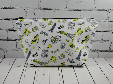New York City Makeup Bag, NYC Cosmetic Zip Pouch - The Curious Needle