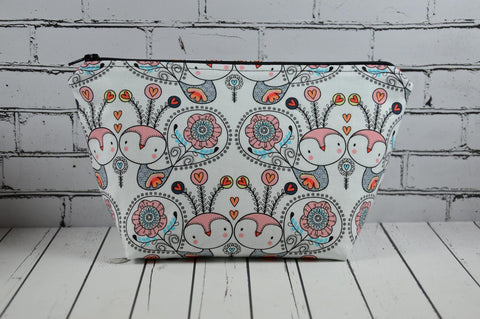 Owls Makeup Bag, Birds Cosmetic Zip Pouch - The Curious Needle