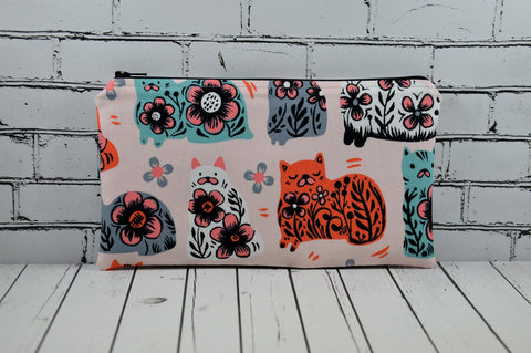 Pastel Cats Pencil Case, Kitty Zip Pouch - The Curious Needle