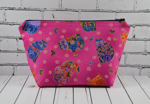 Cats Makeup Bag, Large Cosmetic Bag - The Curious Needle
