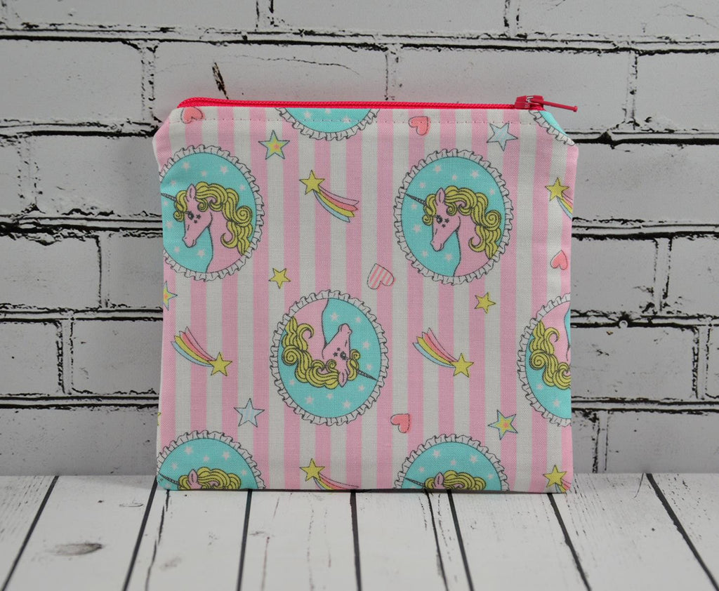 Pink Unicorn Coin Pouch, Cute Small Zippered Pouch