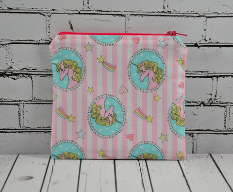 Pink Unicorn Coin Pouch, Cute Small Zippered Pouch - The Curious Needle