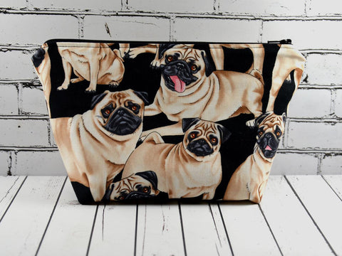 Pug Makeup Bag, Dog Zip Pouch - The Curious Needle
