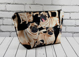 Pug Makeup Bag, Dog Zip Pouch