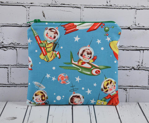 Retro Rascals Spaceship Coin Pouch, Cute Small Zippered Pouch - The Curious Needle