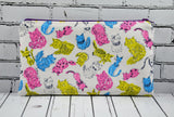 Neon Cat Pencil Case, Cute Cat Zip Pouch, Cat Makeup Bag, Cosmetic Bag, Cat Toiletry Bag