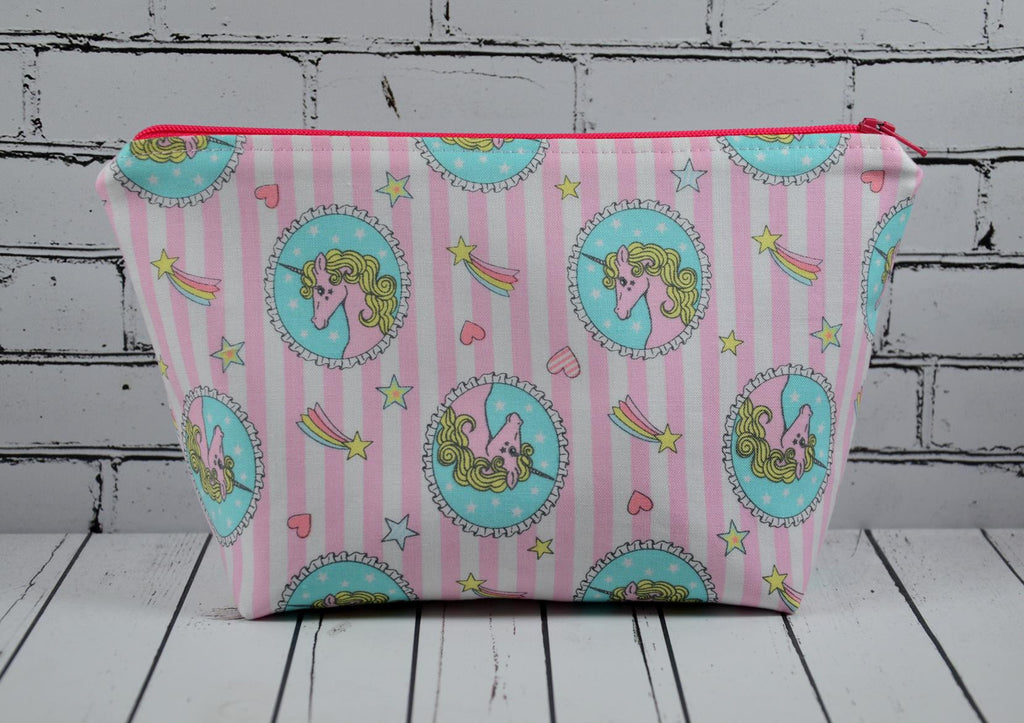 Pink Unicorn Make Up Bag, Large Zip Pouch