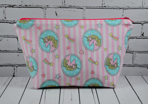 Pink Unicorn Makeup Bag, Large Zip Pouch. - The Curious Needle