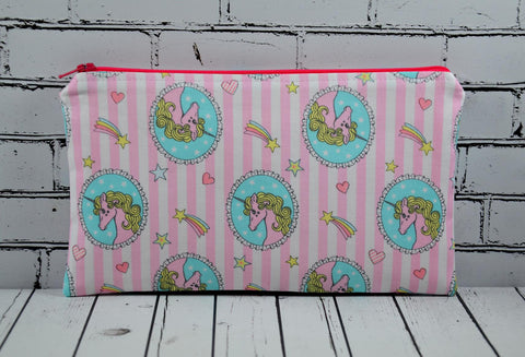 Pink Unicorn Pencil Case, Unicorn Zip Bag, Cute Unicorns, School Supplies. - The Curious Needle