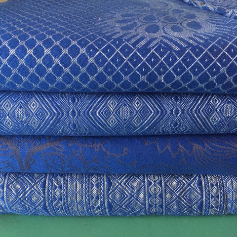didymos cornflower blue, pfau blue, fairtale forest and atlantic air