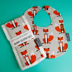 Marshmueller Foxes Bib and Burp Cloth Bundle
