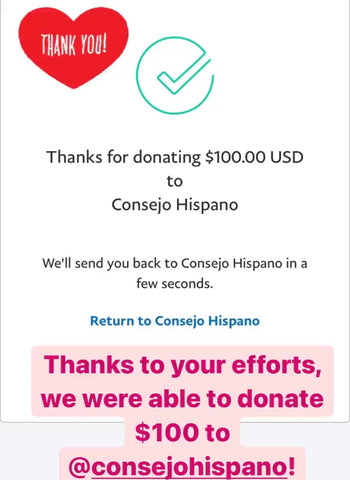 Paypal donation confirmation for Consejo Hispano