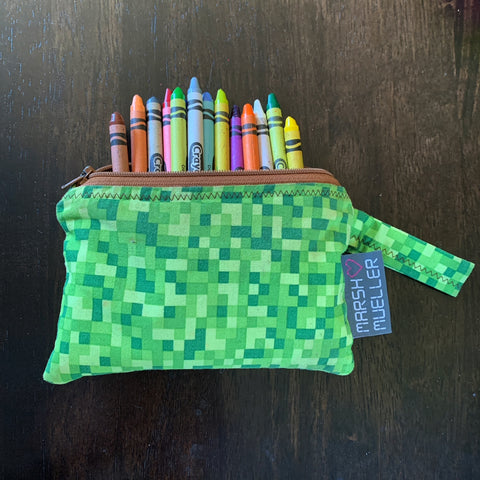 Marshmueller Reusable Snack Bag with crayons inside