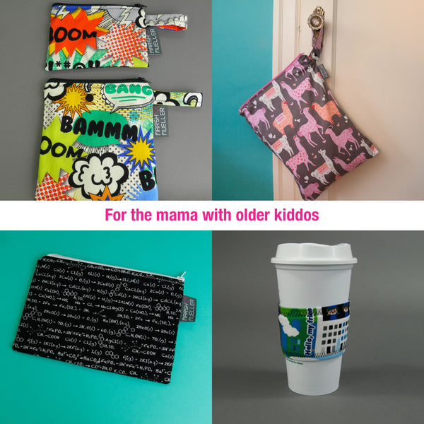 For the mama with older kids: Snack and Sandwich Bag Bundle, Wet Bag, Zipper Pouch, Coffee Cup Sleeve