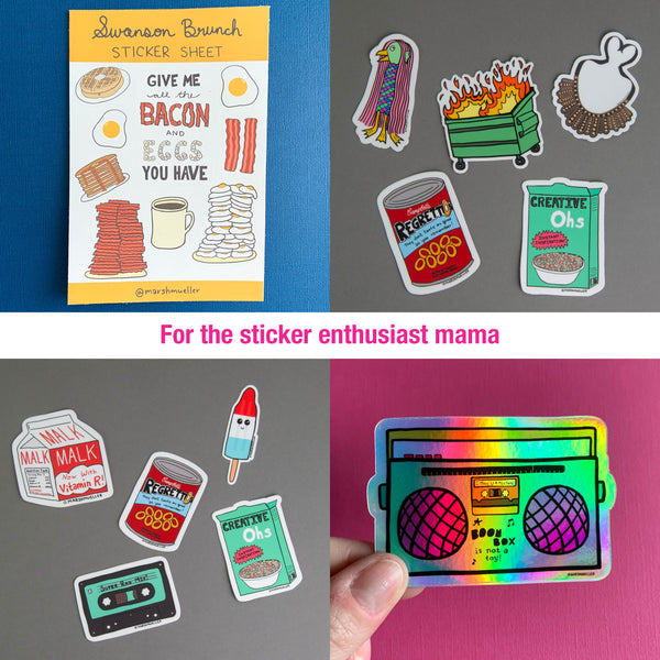 for the sticker enthusiast mama: give me all the bacon and eggs you have sticker sheet, modern times sticker bundle, retro throwback sticker bundle, holographic boom box sticker