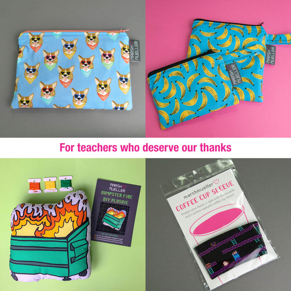 for teachers: zipper pouch, snack and sandwich bag bundle, dumpster fire plushie kit, coffee cup sleeve