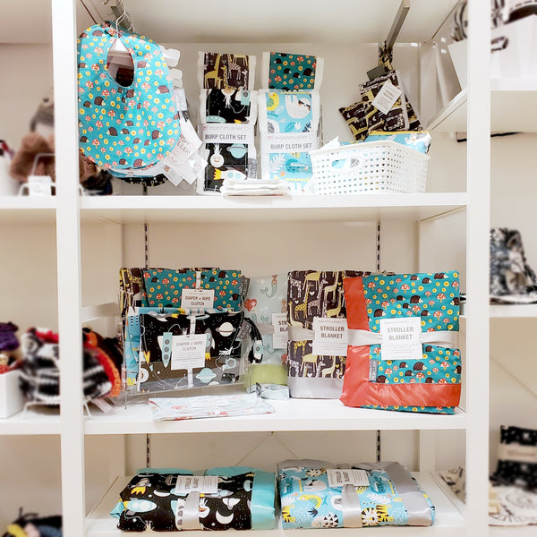 Shelf of Marshmueller products at The Handmade Showroom in Seattle
